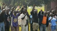 Members of the Central African Armed Forces cheer