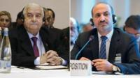 Syrian Foreign Minister Walid Muallem (l) and Syian National Coalition President Ahmad Jarba