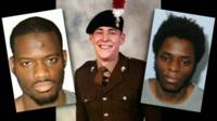 Lee Rigby (c) and his killers Michael Adebolajo (l) and Michael Adebowale (r)