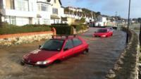 Flooding in Marine Crescent, Deganwy, Conwy