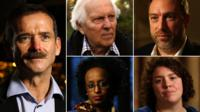 Chris Hadfield, Norman Kember, Jimmy Wales, Jess Thom, Leyla Hussein (from left to right)
