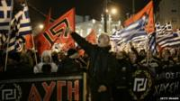 Golden dawn protesters in Athens