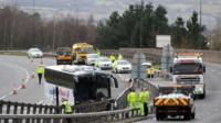 bus crash M4 Newport