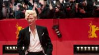"British actress Tilda Swinton arrives for the screening of ""The Grand Budapest Hotel"" presented in the Berlinale Competition of the 64rd Berlinale Film Festival"
