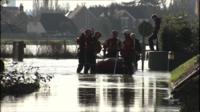 Emergency services with rescue boat