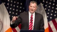New York Mayor Bill de Blasio appeared in Queens, New York, on 10 February 2014