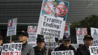 South Korean Conservative protestors hold anti-North Korea rally in Seoul
