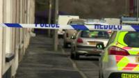 Police cars and cordon, New Road, Pontyberem