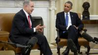Israel Prime Minister Benjamin Netanyahu (left) and US President Barack Obama during a meeting in the Oval Office of the White House