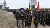 Ukrainian air force pilots march in their airbase in Belbek, near Sevastopol