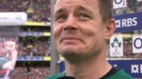 Brian O'Driscoll says goodbye to the Aviva stadium after his last home game in Dublin