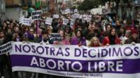 Women demonstrate in Madrid