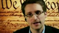 Edward Snowden speaking via video link