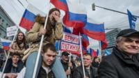 Pro-Kremlin activists march in Moscow