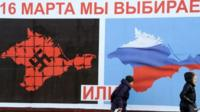 """A referendum poster in Crimea reading: """"On 16 March we will choose either... or..."""""""