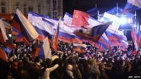 Crowds in Simferopol