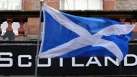 Scottish flag outside shop in Edinburgh