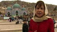 Lyse Doucet outside the Karti Sakhi Shrine in Kabul