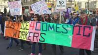 Domestic workers protesting against immigration rules