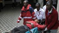 A wounded victim arrives at Kenyatta National Hospital in Nairobi