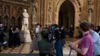 Filming for Suffragette, at the House of Commons in London