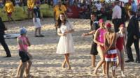 Duchess of Cambridge watches as juniors compete at a surf life saving