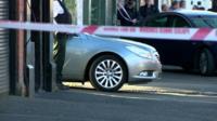 Police tape at scene of shooting in Belfast