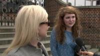 Women outside Shakespeare's Globe theatre in London