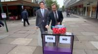Cardboard Ed Miliband with Adam Fleming and Daily Politics mood box