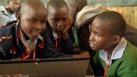 Children using their new computer