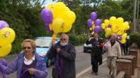 UKIP supporters carrying balloons