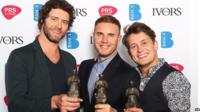 Take That stars Howard Donald, Gar Barlow and Mark Owen