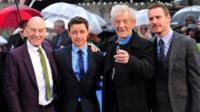 Patrick Stewart (L) James McAvoy (2nd L), Ian McKellen (3rd L) and Michael Fassbender(R)