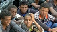 Migrants apprehended by the Libyan authorities