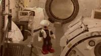 Kirobo floating aboard the space station