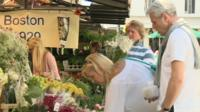 People at flower stall
