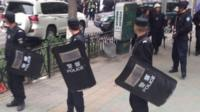 Police at scene of attack in Urumqi - 22 May