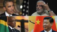 From left, clockwise: Barack Obama, Narendra Modi, Jacob Zuma, Xi Jinping