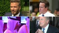 Top left David Beckham, top right David Cameron, bottom left Ali Shareef Al-Emadi, bottom right Sepp Blatter