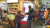 Dennis Trounce confronting the robbers