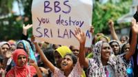 Sri Lankan muslims, made homeless after two days of anti-muslim riots in Sri Lankas tourist region of Alutgama, demonstrate against radical Buddhist group Bodu Bala Sena (BBS)at a makeshift camp in Beruwala