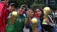 Fans celebrating in Mexico City after a 3-1 World Cup win over Croatia