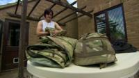 Reservist Jayne Deering packing her kit