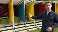 Andrew Plant with Glastonbury toilets