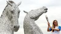 Queen's baton at the Kelpies
