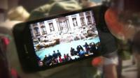 Smartphone showing Trevi fountain image