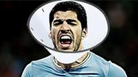 Luis Suarez wearing a cone