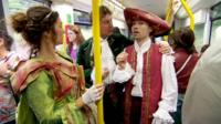Shakespeare being performed on a Manchester tram