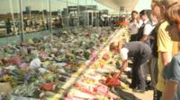 Floral tributes outside Amsterdam's Schiphol Airport