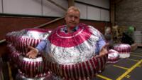 John Maguire dressed as a Tunnock's teacake